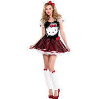 Adult Sequin Bow Hello Kitty Costume