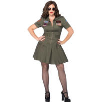 Adult Sexy Flight Dress Costume Plus Size - Top Gun