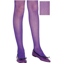 Child Neon Purple Fishnet Tights