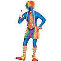 Adult Blue Rainbow Clown Partysuit Costume