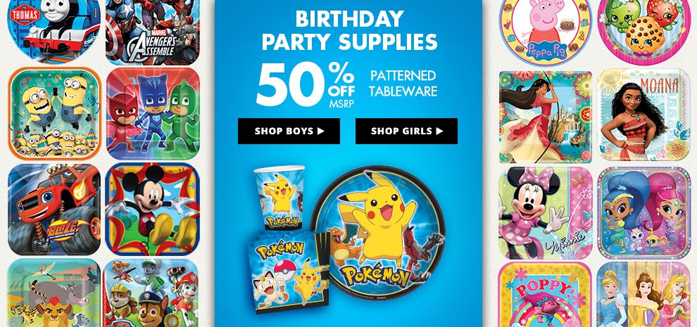 Birthday Party Supplies - 50% off Patterned Tableware MSRP Shop Now