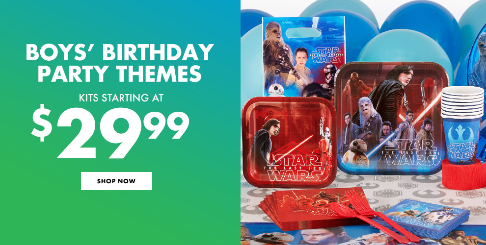 Boys' Birthday Party Themes Kits Starting at $29.99 Shop Now