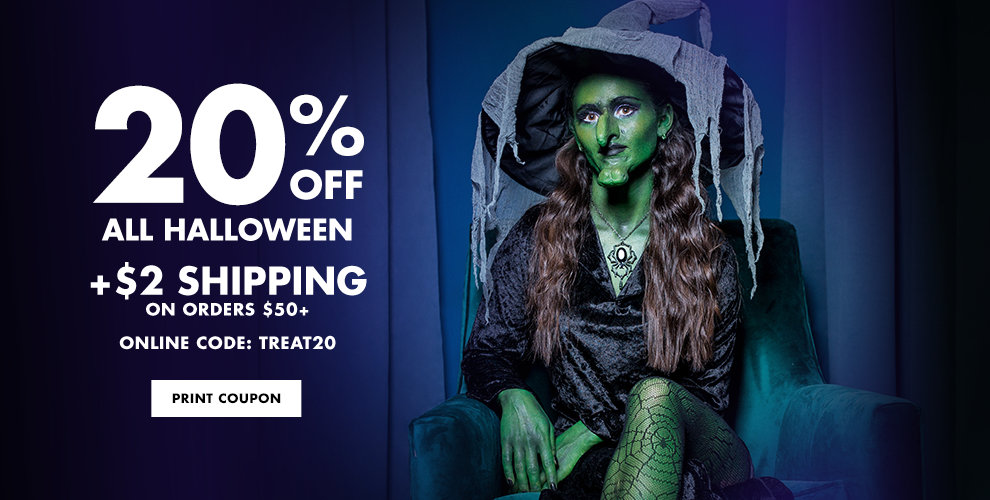 20% off All Halloween plus $2 Shipping on orders 50+ Use Code: TREAT20 Shop Now Print Store Coupon