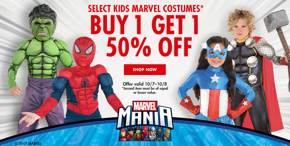 select kids marvel costumes buy 1 get 1 50 off offer valid 10 - Cheapest Place To Buy Halloween Costumes