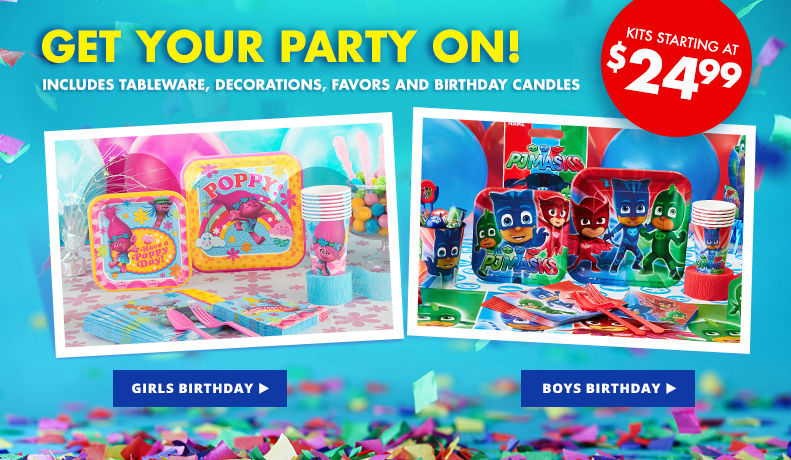 Get Your Party On! Includes Tableware, Decorations, Favors and Birthday Candles Starting at $24.99
