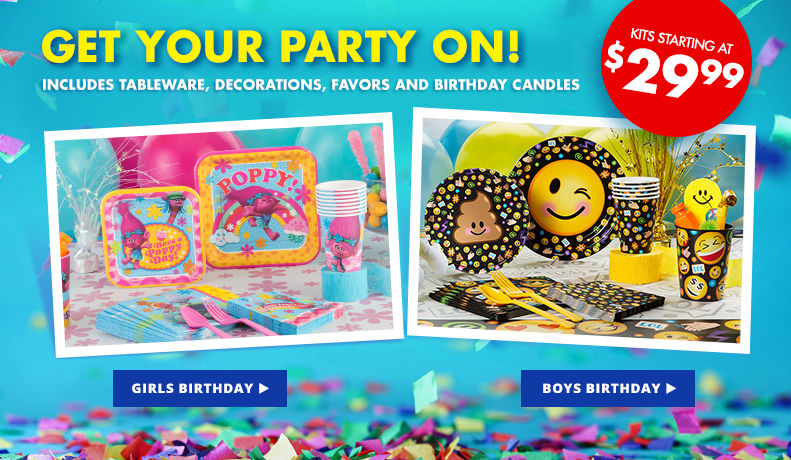 Get Your Party On! Includes Tableware, Decorations, Favors and Birthday Candles Starting at $21.99