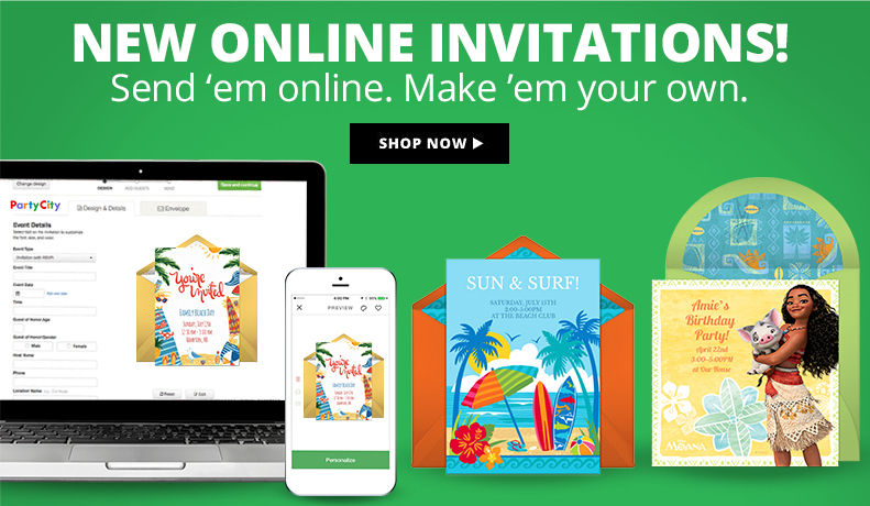 New Online Invitations! Send 'em online. Make 'em your own. Shop Now