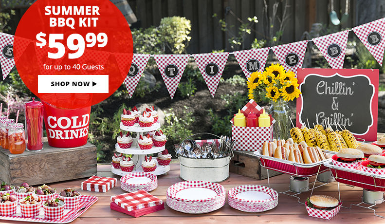 Throw a Big Summer Picnic under $60. Includes: tableware, decorations, drinkware & more for up to 40 Guests. Shop Now