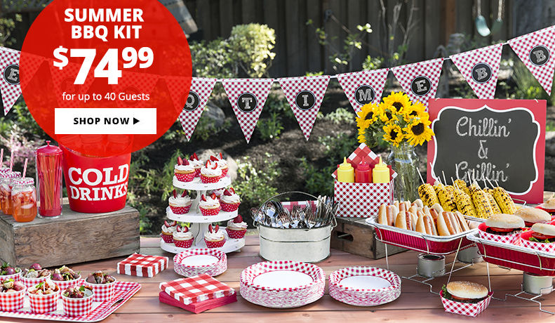 Throw a Big Summer Picnic under $75. Includes: tableware, decorations, drinkware & more for up to 40 Guests. Shop Now