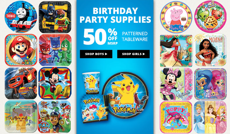 Birthday Party Supplies 50% off Patterned Tableware MSRP