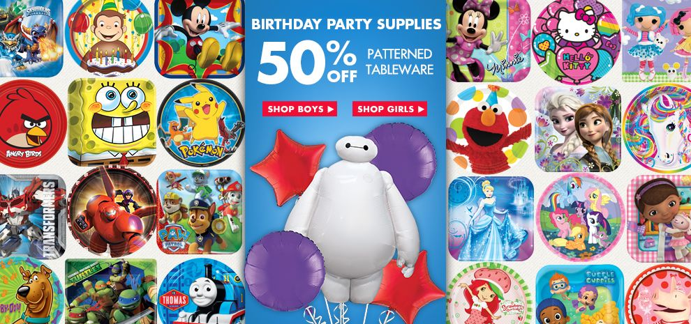 Birthday Party Supplies Tab – Patterned Tableware 50% off