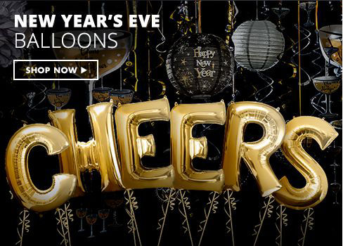 Black, Gold & Silver New Year's Eve Balloons Shop Now