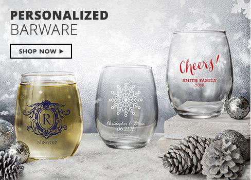 Shop Now Personalized Barware, Favors