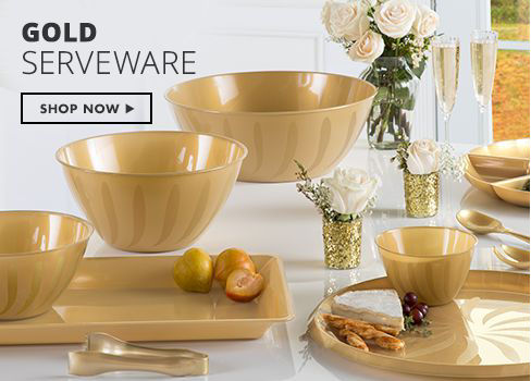 Shop Now Gold Serveware - Bowls, Trays & More