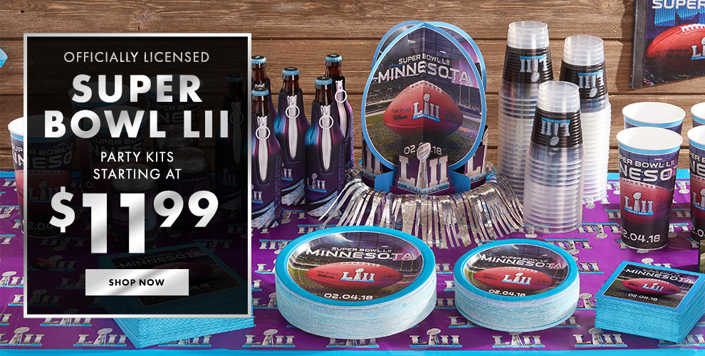 Officially Licensed Super Bowl LII Party Kits Starting at $11.99 Shop Now