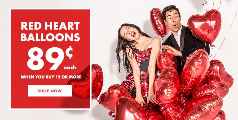 red heart balloons starting at 89 when you buy 12 or more shop