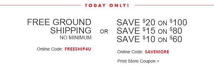 Free Ground Shipping No Minimum Or Save Up To $20:omni:FREESHIP4U SAVEMORE