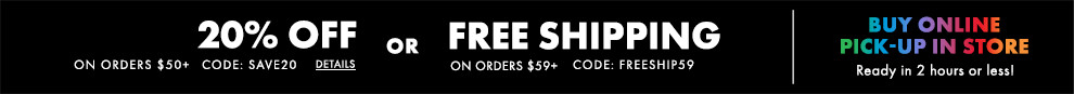 Free Ground Shipping On Orders $59+ OR 20% Off Purchases of $50+:omni:FREESHIP59 SAVE20
