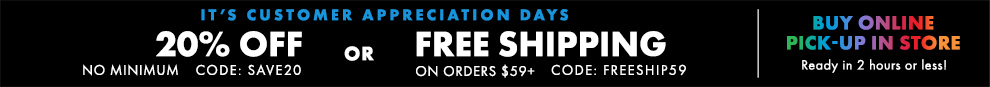 20% Off No Minimum OR Free Ground Shipping On Orders $59+:omni:SAVE20 FREESHIP59