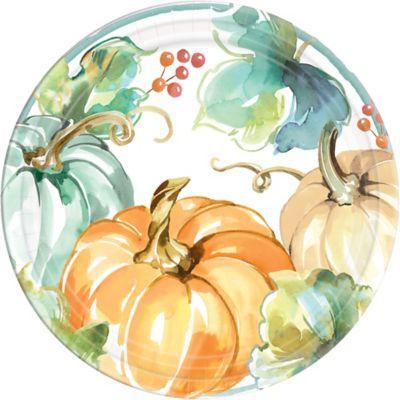 Large Plastic Thanksgiving Fall Harvest Platter Pumpkins /& Leaves Orange 19 inch