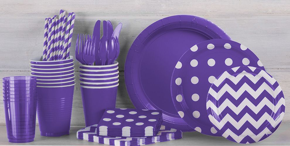 Purple Polka Dot and Chevron Tableware
