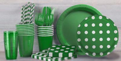 Festive Green Polka Dot and Chevron Tableware & Festive Green Polka Dot \u0026 Chevron Tableware | Party City