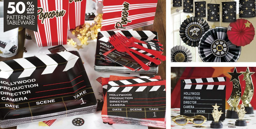 Clapboard Hollywood Movie Theme Party Supplies | Party City