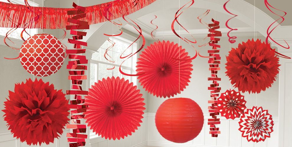 Red Decorations Red Balloons Banners Amp Confetti Party