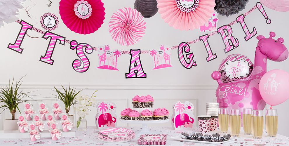 Pink Safari Baby Shower Decorations