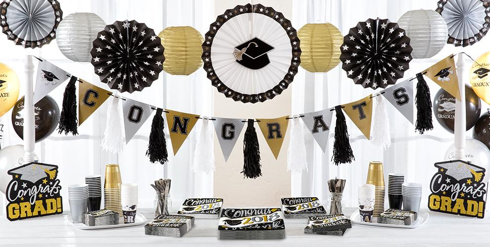 Black, White and Gold Congrats Graduate Party Supplies