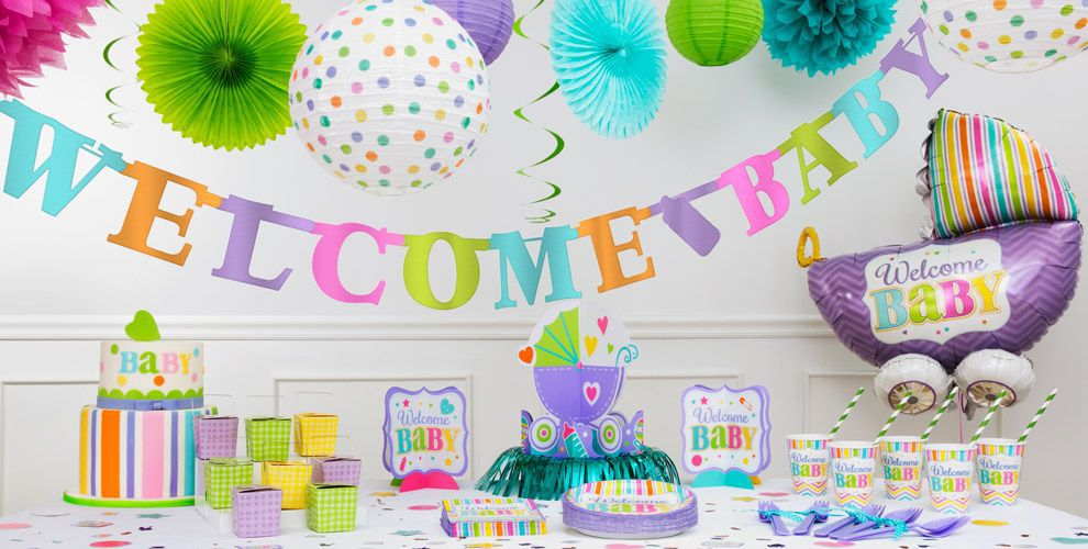 Pastel Rainbow Chevron Baby Shower Decorations