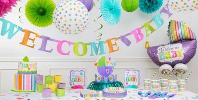 Pastel Rainbow Chevron Baby Shower Decorations