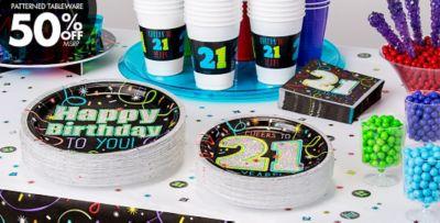 Patterned Tableware 50% OFF MSRP \u2014 Brilliant 21st Birthday Party Supplies ... & Brilliant 21st Birthday Party Supplies \u0026 Decorations - 21st Birthday ...