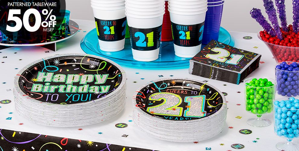 Patterned Tableware 50% OFF MSRP — Brilliant 21st Birthday Party Supplies