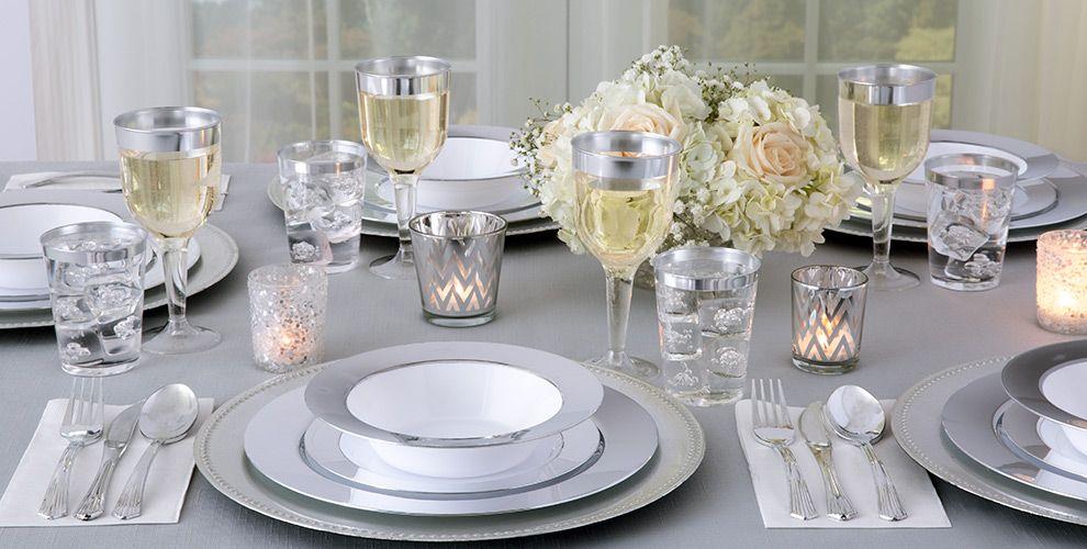 White Silver Border Premium Tableware