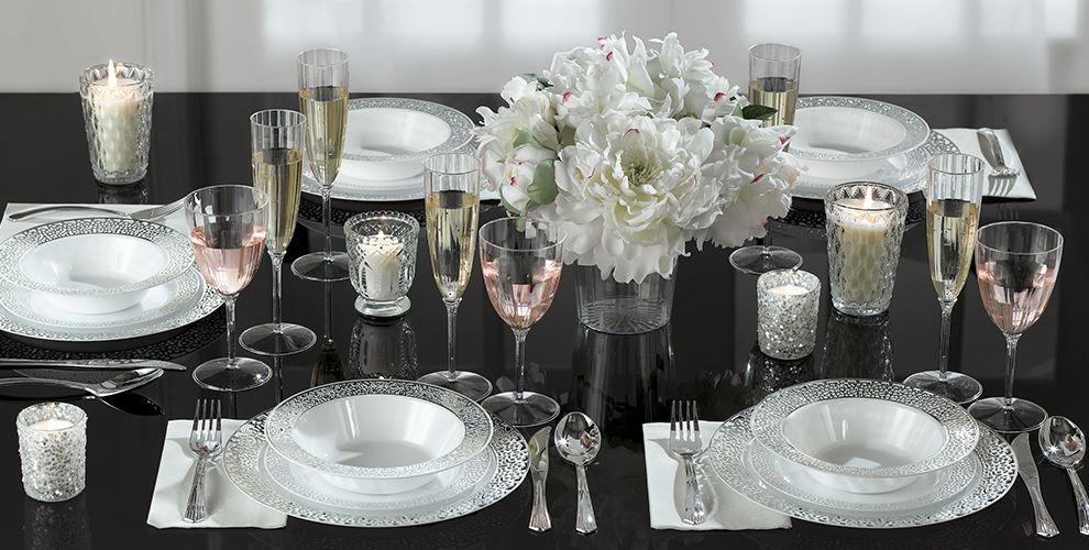 White Silver Lace Border Premium Tableware