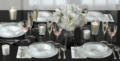 White Silver Lace Border Premium Tableware & White Silver Lace Border Premium Tableware | Party City
