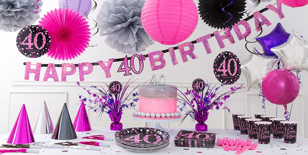 Pink sparkling celebration 40th birthday party supplies for 40 birthday decoration ideas