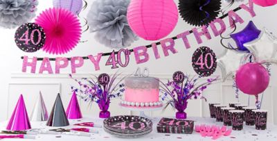 ... Pink Sparkling Celebration 40th Birthday Party Supplies & Pink Sparkling Celebration 40th Birthday Party Supplies | Party City