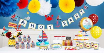 Nautical Theme Party Decorating Ideas Part - 28: Ahoy Nautical Baby Shower Decorations
