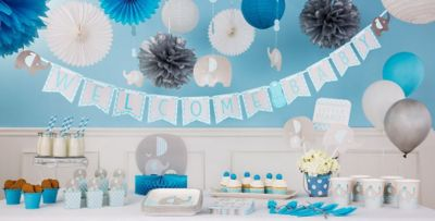 Blue Baby Elephant Baby Shower Decorations