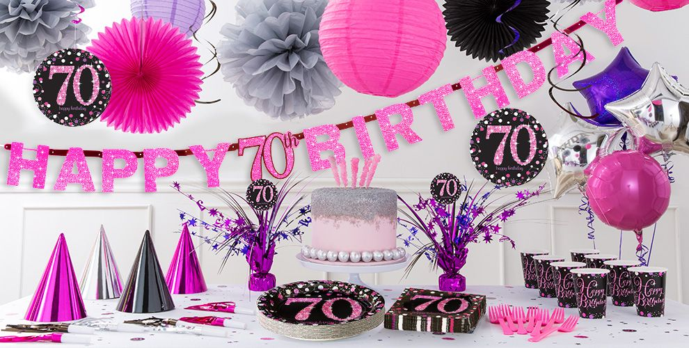Pink sparkling celebration 70th birthday party supplies for 70th birthday party decoration ideas