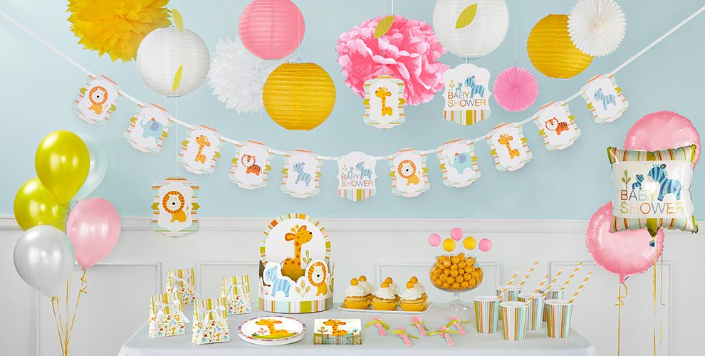 Happy Jungle Girl Baby Shower Party Supplies