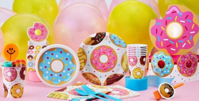 Donut Party Supplies  sc 1 st  Party City : candy themed paper plates - pezcame.com