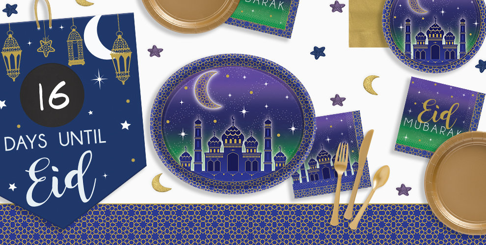 Royal Blue Eid countdown sign, Eid Tableware with mosque and crescent