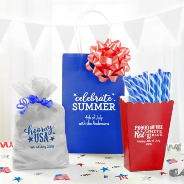Personalized 4th of July Favor Bags & Boxes