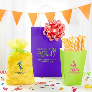 Personalized Luau Favor Bags & Boxes
