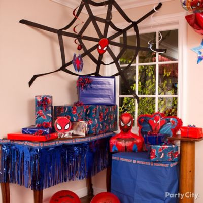 Spider Man Streamer Web DIY Decorating Ideas Spider Man Party