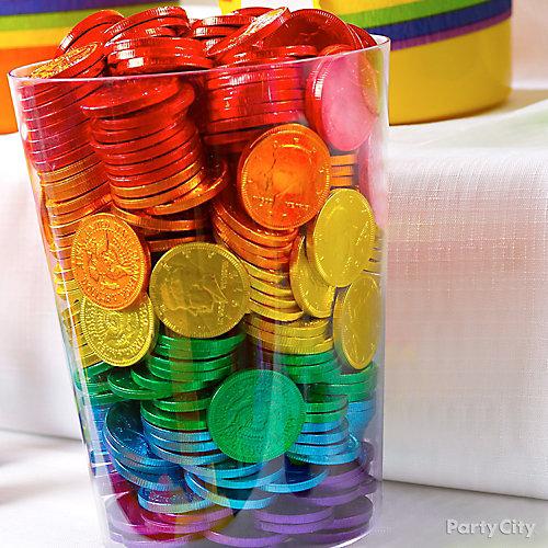 Rainbow Chocolate Coins Display Idea