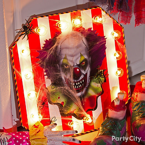 Halloween Light Up Clown Sign DIY